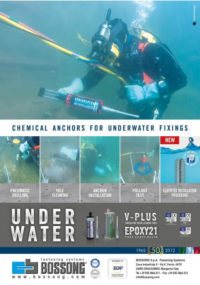 Bossong chemical anchors for underwater fixings